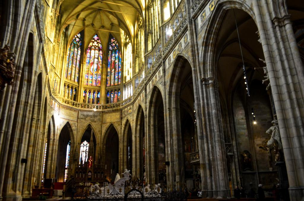 "Inside the St.Vitus cathedral. The church houses the crown jewels and the tomb of ""Good King"" Wenceslas."
