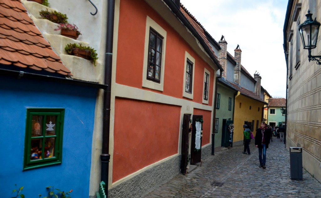 Colored houses in Golden Lane- a street situated at the Prague Castle. Legend says that alchemists used to produce gold here back in 16th century.