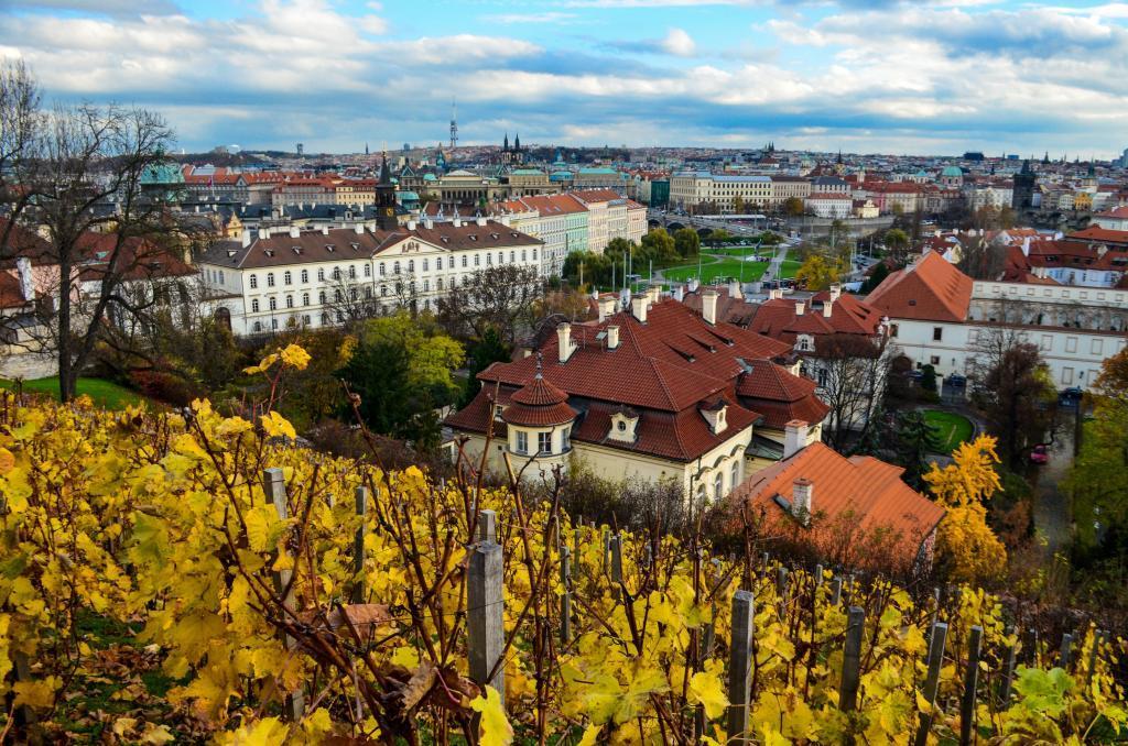 Prague panorama from Saint Wenceslas Vineyard at Prague castle.