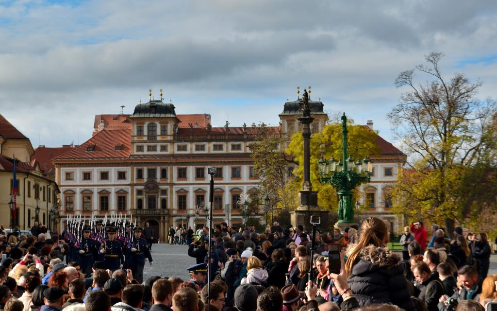 The changing of guards - traditional ceremony taking place at Prague castle.